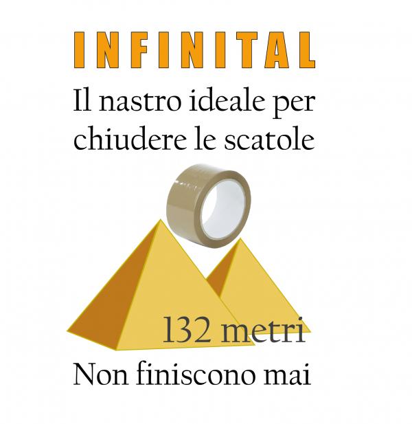 Infinital: il nastro ideale per chiudere le scatole. 132 metri, non finiscono mai.
