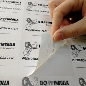 """Etichette Adesive Removibili bianche con logo """"Doppincolla"""""""