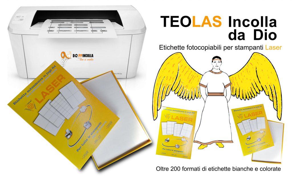 Etichette adesive da stampare in foglio a4 fotocopiabili Teolas con stampante