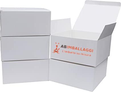 scatole bianche con logo di AB Imballaggi torino